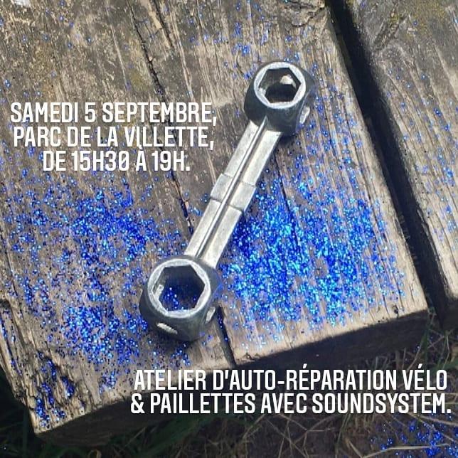 Paillettes & Cambouis fête sa rentrée ! 🚴🏾♀️ Rdv samedi 5 septembre, au Parc de la Villette, au bord du canal (côté sud). 🚴🏼♂️ Au programme : bichonnage de vos vélos, paillettes & joie.Si tu ne sais pas faire tu peux apprendre avec nos bénévoles. Nous avons hâte de vous y voir ! #paillettesetcambouis #velo #atelierautorep #metsdespaillettesdanstavie